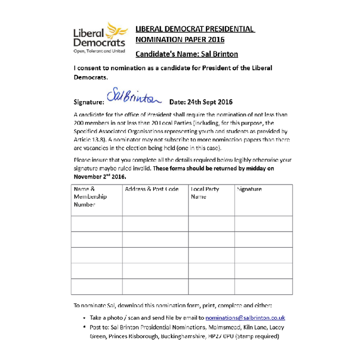 Lib Dem Presidential Nomination Form 2016